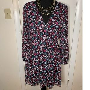 Express Floral Dress with Sheer Long Sleeves